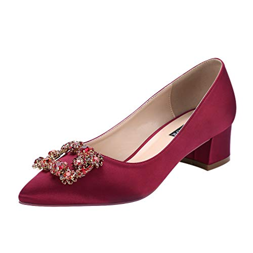 Burgundy Womens Shoes (ERIJUNOR E2233 Women Comfort Low Heel Closed Toe Rhinestone Wedding Evening Satin Shoes for Wide Foot Fit Burgundy Size 10)