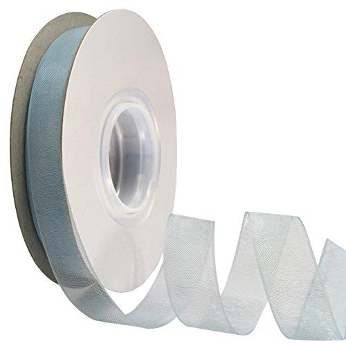 (DUOQU 1/2 inch Wide Shimmer Sheer Organza Ribbon 50 Yards Light)