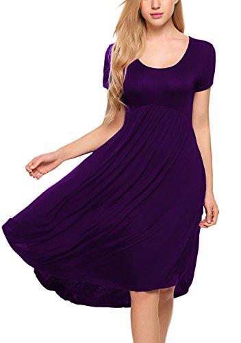 Bluetime Women's Casual Loose Short Sleeve High Low Pleated Flare Swing Dress (XXL, Purple)