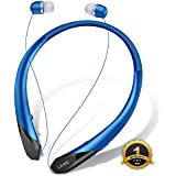 Bluetooth Headphones, LIUHE Wireless Neckband Headset with Retractable Earbuds, Sports Sweatproof Noise Cancelling Stereo Earphones with Mic (Blue)