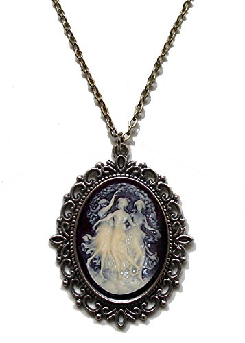 Victorian Vault Three Muses Cameo Steampunk Gothic Pendant Necklace on Chain (Goth Cheshire Cat Costume)