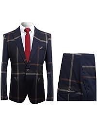 Mens Plaid 2 Piece Suit Set Blazer Jacket Tux Suit Pants