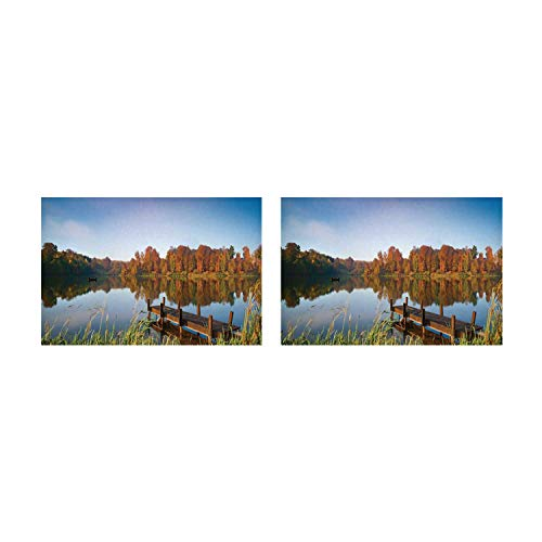 C COABALLA Scenery Decor Utility Placemat,Lake View Fishing Countryside Themed with Trees and Long Reeds Art Photo for Home,Two Pieces 14