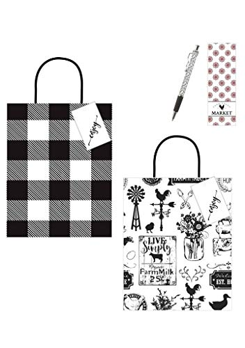 Farmhouse Favorites Paper Bags with Handles Set of 24 | 8x4.75x10.25 Bags (12 Plaid and 12 Printed) | Hang Tags (24 ea) | Black Vines Ink Pen (1 ()