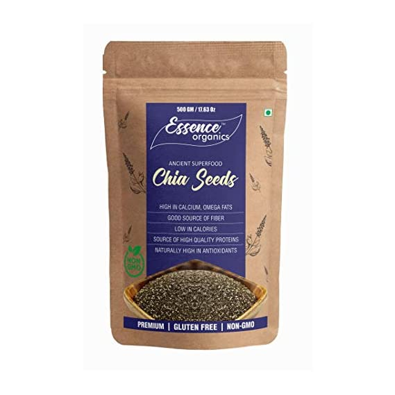 Essence Organics Chia Seeds (500 Grams) - Premium Raw Chia Seeds