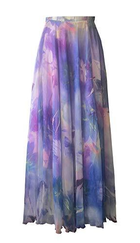 (Pretchic Women's Blossom Floral Chiffon Maxi Long Skirt Purple Medium)