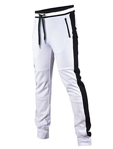 SCREENSHOT-P11851 Mens Hip Hop Premium Tech Fleece Bottom - Spandex Ribbed Wasteband with Drawstring & Stripe Trim-White-Medium