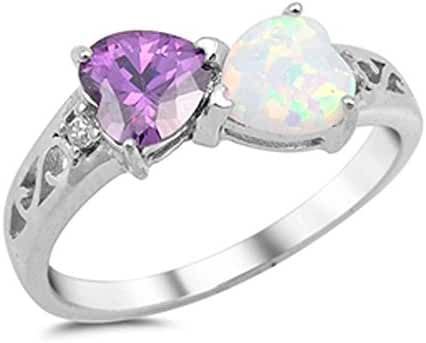 Heart Simulated Amethyst & Lab Created White Opal .925 Sterling Silver Ring Sizes 4-12