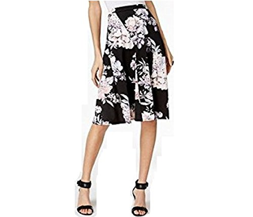Newport Spandex Skirt - NY Collection Womens Petite Black Pink Blue Floral Print A-Line Skirt SZ PS