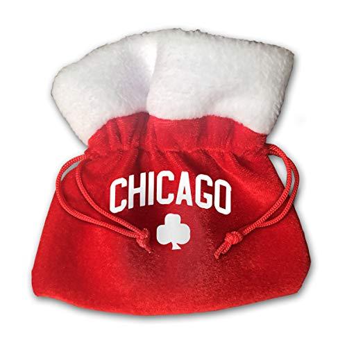 CYINO Personalized Santa Sack,Chicago Irish Portable Christmas Drawstring Gift Bag (Red)
