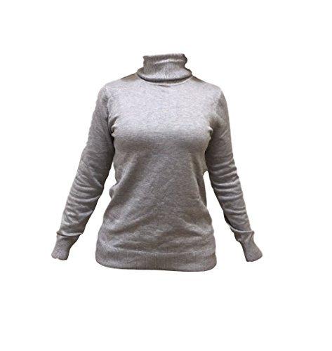 Joseph A. Women's Turtle Neck Long Sleeve Sweater (Small, Light Heather Grey)