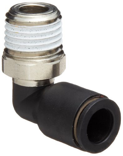 Legris 3109 08 14 Nylon & Nickel-Plated Brass Push-to-Connect Fitting, 90 Degree Elbow, 5/16