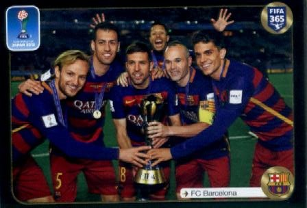 2016-17 Panini FIFA 365#647 6 Barcelona players with cup FIFA Club World Cup Soccer Sticker