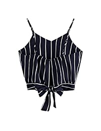 Yusongirl Women's Striped Camisole Self Tie Back Tank Tops V Neck Sun-top Crop Camis
