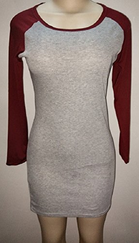 Bodycon X s Casual C Knitting Red Sleeve Dress Long Trendy Tshirt Wine Women pd8q8