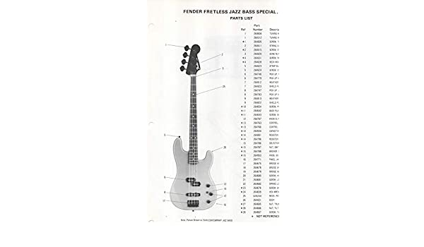 Parts List Diagram For Fender Fretless Jazz Bass Special Electric Bass Guitar 277300 Fender Electronics Sunn Amazon Com Books