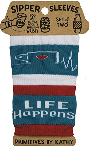 Primitives by Kathy - To-Go Coffee Cup Reusable Knit Insulator Sleeves, Life Happens, 2 Pack