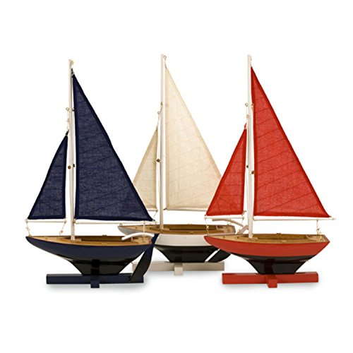 CC Home Furnishings Set of 3 Wooden Nautical Decorative Patriotic Sailboats - 16