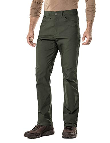 CQR Men's Flex Stretch Tactical Work Outdoor Operator Rip-Stop Trouser Pants EDC, Flexy Straight(tfp500) - Green, 42W/30L ()