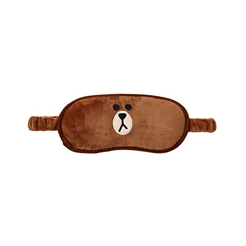 Line Friends BROWN Compact Character Design Travel Kit with Sleep Mask, Spa Slippers, and Travel Neck Pillow, Brown -