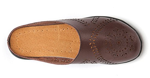 Wallking Mules Brown Slipper 01 Women's Labato Shoes Clogs Leather on Slip Flats CZvxw58