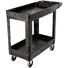 Rubbermaid Commercial Products Heavy-Duty Utility Cart, Flat Handle, 2 Lipped Shelves, Small, Black (FG450089BLA)