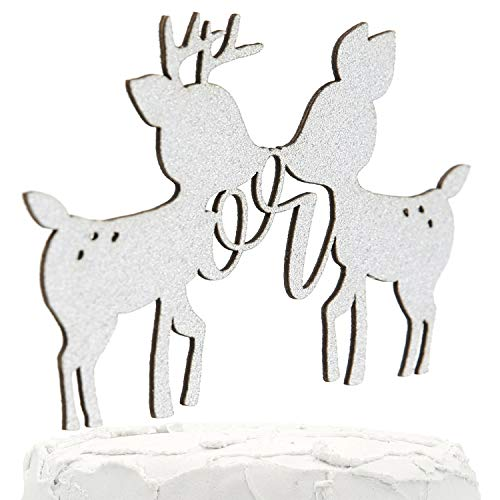 (NANASUKO Gender Reveal Cake Topper - Buck or Doe - Double Sided Silver Glitter - Premium Quality Made in USA)