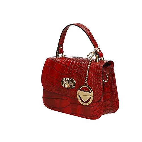 cm véritable Rouge à Made Borse en Chicca Italy Sac Petit Pochette cuir 20x15x8 in main wOgg8T6q