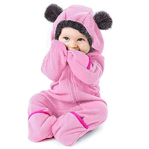 Fleece Baby Bunting Onesie Jumpsuit Jacket Infant Pajamas Winter Outerwear Coat Costume Cosplay Clothes (Pink,12-18 Months) (Outerwear)