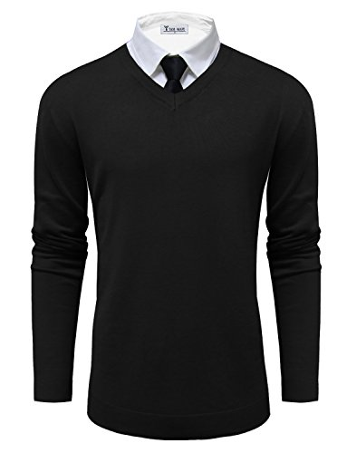 - TAM WARE Mens Classic V-Neck Long Sleeve Sweater TWMV06-BLACK-US M