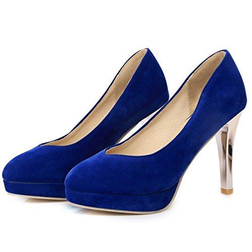 Cone On Heel Women TAOFFEN Work Slip Basic 505 Shoes Pumps Platform Western Blue wZxpxXtqf
