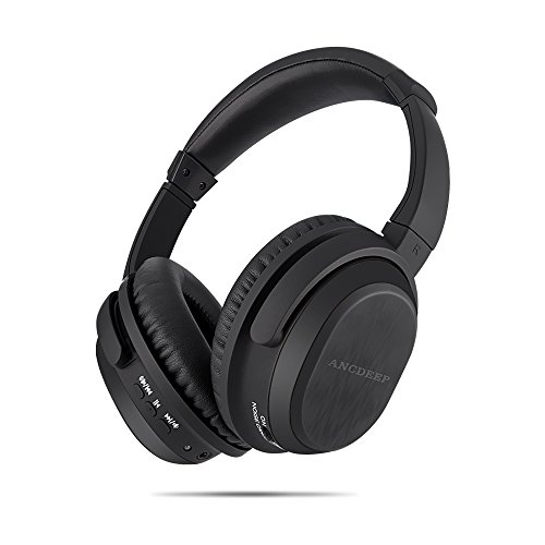 Active Noise Cancelling Bluetooth Headphones, ANCDEEP ANCONE HiFi Stereo Deep Bass Over Ear Wireless Headphones with Built-in Microphone and Carrying case for iPhone/Android/PC/TV(Black)