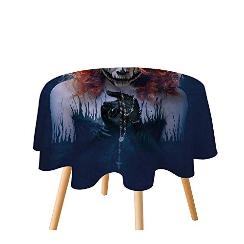 TecBillion Queen Polyester Round Tablecloth,Queen of Death Scary Body Art Halloween Evil Face Bizarre Make Up Zombie for Home Restaurant,35.4