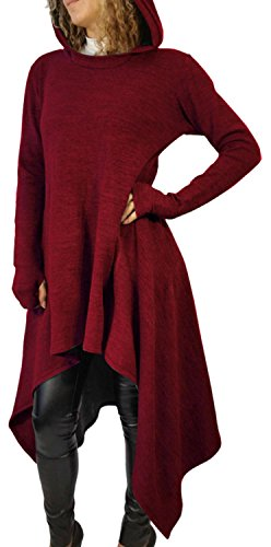 Anmengte Women's Fashion Casual Irregular Maxi Solid Color Hooded Sweater Blouse Top (XXL, Red)