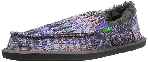 Sanuk Kids Girls' Lil Donna Ice Chill Shearling Slipper, Dusty Peri Multi Icicle, 4 M US Big (Girls Icicle)