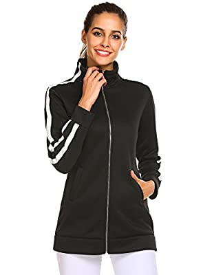 Zeagoo Women's Casual Zip up Long Fleece Jacket Lightweight Outwear