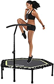 """Exercise Trampoline, 48"""" Mini Trampoline with Adjustable Handle Bar Fitness Bungee Rebounder for Adults Kids H"""