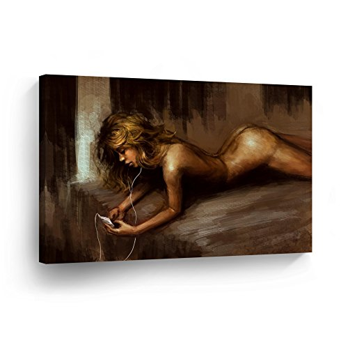 Naked Blonde Beauty Listens Music in Bed Sexy Naked Nude Woman Girl Lady Oil Painting CANVAS PRINT Decorative Wall Art Home Decor Stretcher Bars - Ready to Hang - %100 ()