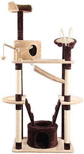 DAYUMAOJIN 猫の木、小さな猫登山フレーム列サイザル猫スクラッチ多機能ネストハンモックペット猫おもちゃぬいぐるみ猫ツリー木材