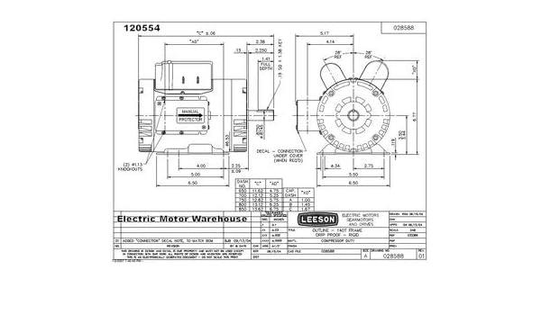 5HP 3450rpm 145T 230 V motor eléctrico de motor compresor de aire de repuesto Leeson # 120554: Amazon.es: Bricolaje y herramientas