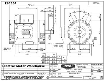 leeson 5hp 3450rpm 145t dp 230v 1ph 60hz cont 40c 1 0sf rigid p145k34db1dcompressor duty manual (120554 00) Emerson Electric Motor Diagram