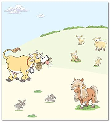 FunToSee Funberry Farm Children's Wall Decals, Pony And Cow Scene by FunToSee