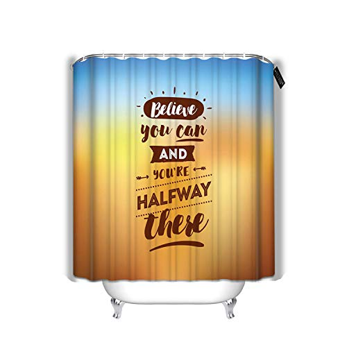YILINGER Bath Shower Curtain Believe You Can You are Halfway There Cloth Fabric Bathroom Decor Set 72