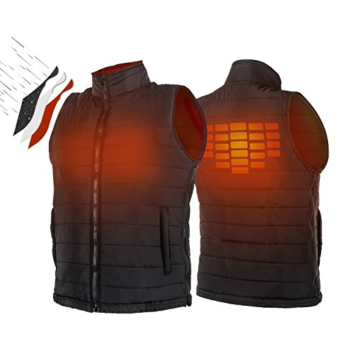 Vest Down Hunting (ATATAKAI USB Charging Electric Heated Body Warmer Down Vest, Washable Size Adjustable Heated Clothing for Outdoor Hike, Hunt, Motorcycle, Golf(Black)(M-L))