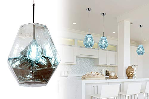 Modern Acrylic Island Pendant Lighting Fixtures Lava Diamond Shape Contemporary Mirror Hanging Ceiling Lights 1-Light Foyer Chandelier for Living Dining Room Chrome by Bewamf