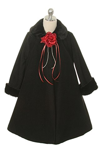 Girl's Cozy Fleece Long Sleeve Cape Jacket Coat - White Infant XL 18-24 Months