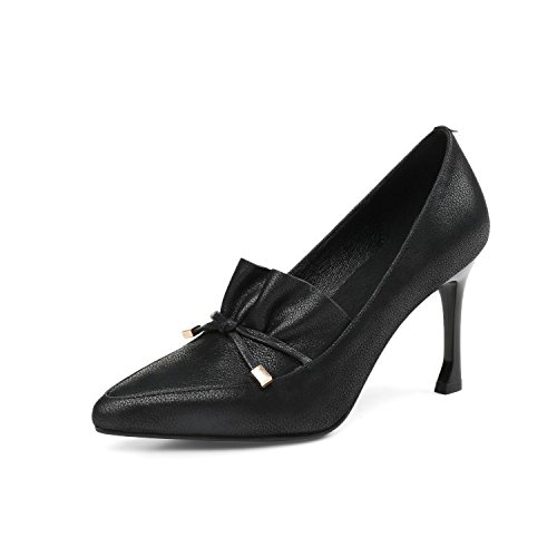 Cuir Talons Talons pour Hauts Chaussures de Pointus de Black Dames Travail Professionnelles Chaussures Mode Chaussures DKFJKI Fête 0tUT4t