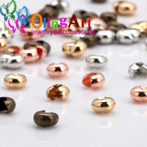 Laliva Accessories - 5MM 60pcs Plating Rhodium/Gold/Bronze/Rose Gold Copper Alloy Crimp Beads Round Covers DIY Jewelry Making - (Color: Mix 60PCS 050H)