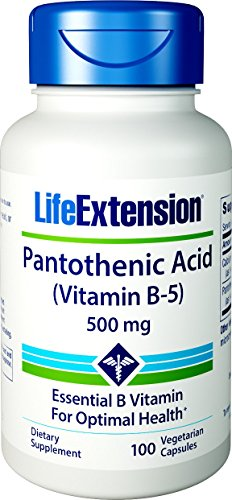 Life Extension Pantothenic Acid (Vitamin B-5) 500 mg, 100 Vegetarian Capsules
