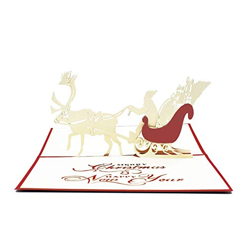 (Magic Ants 3D Christmas Sleigh Merry Christmas Pop Up Cards Winter Holiday Greeting Cards with Envelope and Stickers - Laser Cut Card Handmade Gift Cards Santa Claus - Perfect for)